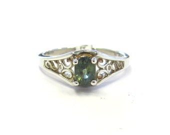 Sterling Silver Filigree Set Natural Sage Green Sapphire Ring, size 6 3/4, September birthstone