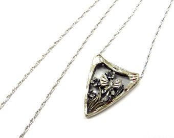 """Vintage Sterling Silver Cut-out Butterfly Flower Scene Pendant with Etched Texture, on 18"""" chain"""