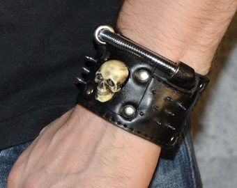 Gift for men Gift for him Leather cuff Skull bracelet Skull cuff Leather Wristband Cyberpunk cuff unusual gift men birthday Post apocalyptic