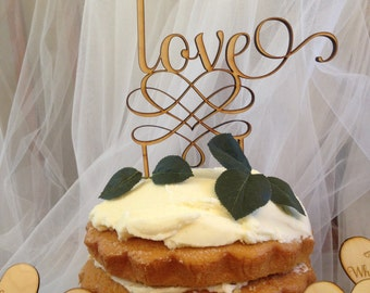 "Laser Cut Wood Cake Topper ""love"""