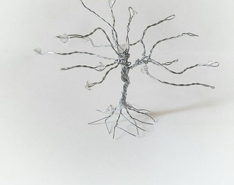 Silver small wire sculpture tree, wire tree decor, tree decor, silver tree decor, ring holder tree, decorative wire tree, tree home decor