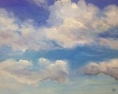 Cloud Painting. Painting of clouds on canvas. Landscape. Small cloud painting. Blue sky painting. Sky painting. Nursery art. Trending art.