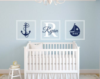 Nautical Wall Decal - Personalized Name Wall Decal - Square Monogram Sailboat Anchor Decal - Nautical Nursery Wall Art - Vinyl Wall Decal