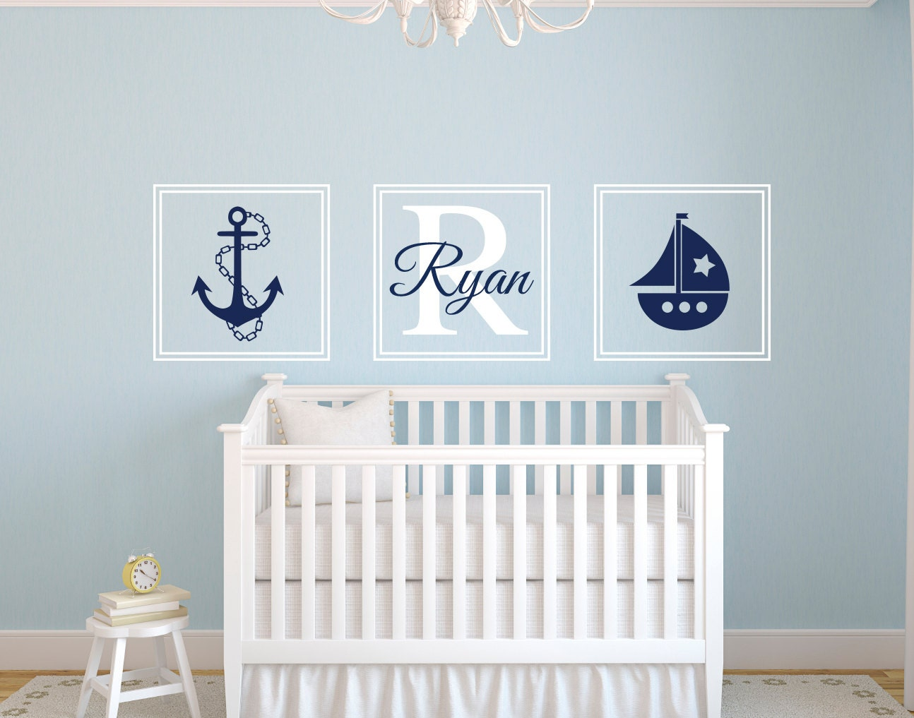 nautical wall decal personalized name wall decal square. Black Bedroom Furniture Sets. Home Design Ideas