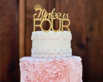 Cake Topper, Birthday Cake Topper, Four Cake topper, 4th birthday, 4 year old, Birthday Cake, Birthday Decorations, Glitter cake topper