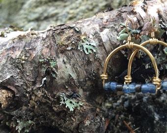 Small Vintage Glass Horseshoe Earrings