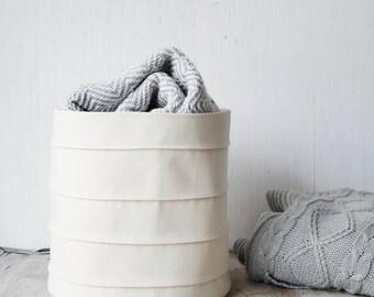 Toy Storage Bin. Hamper. Canvas Basket. Baby Hamper. White