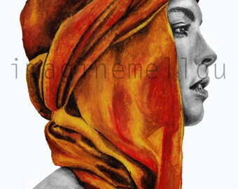 Mixed media drawing girls with turban
