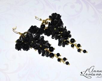 Black Flower Earring Black Flower Jewelry Black Gold Earring Black Long earring Black Bridesmaid Earring Black evening earring Black earring