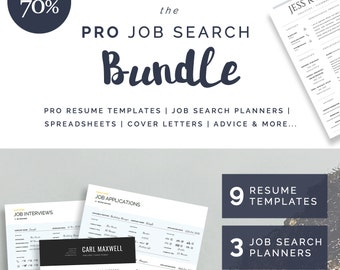 9 Resume / CV Templates | 3 Job Search Planners | Cover Letters | Bonus Spreadsheets | Advice | The PRO Job Search Bundle | SAVE 70%