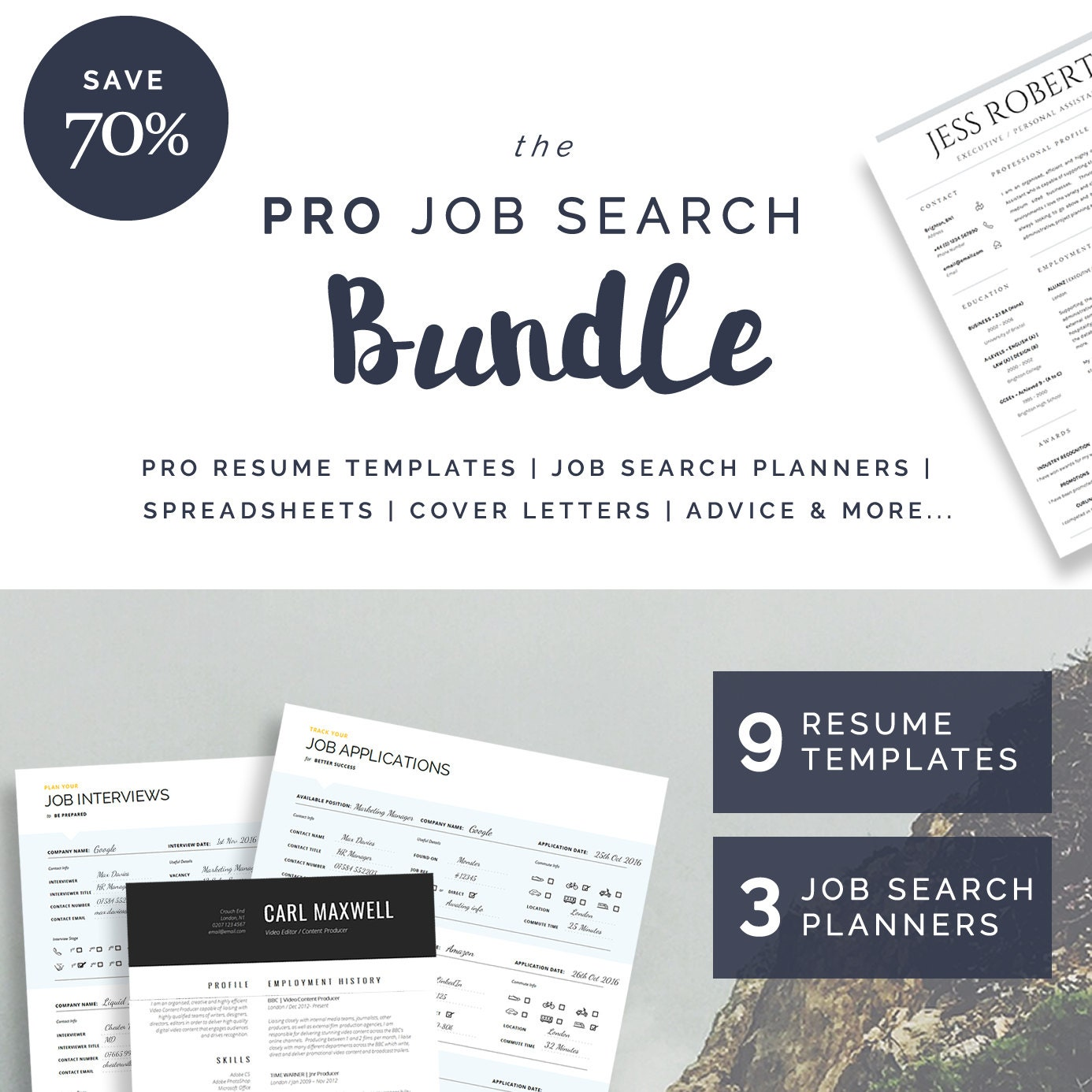 9 Resume / CV Templates 3 Job Search Planners Cover