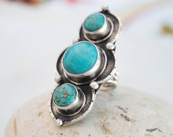 Turquoise ring, Turquoise sterling silver ring, Boho ring,  Sterling Silver Gemstone Ring,Large Turquoise Statement Ring,Big Ring, SIZE 8 US