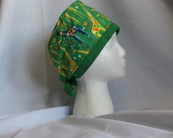 Green Animal Origami Surgical Scrub Cap Chemo Dental Hat