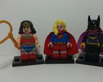 Women of DC Set Of 3 Custom DC Comics Minifigures Batgirl Supergirl Wonder Woman (LEGO Compatible)