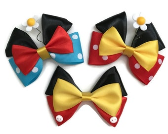Mickey & Minnie Mouse Disney Character Vintage Minnie Mouse Inspired Hair Bow