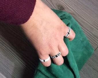 3 beaded band rings
