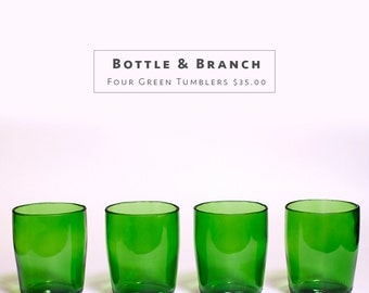 Green Tumblers - Cut from Recycled Bottles