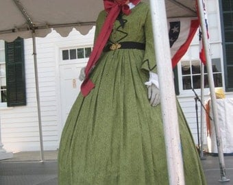 Civil War Day Dress - Acid Green - Reproduction