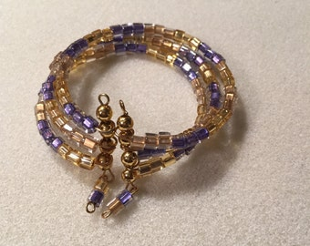 """Cuff, Memory-Wire, """"Colors of Royals"""" bracelet"""