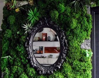 Green Wall, wall, frame, plant table, plant framework lichen green, vegetated, organic artwork table, plant design, green
