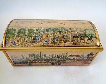 Tin Box, E Otto Schmidt Tin Box, First Railroad in Germany, Collectible Tin, Farmhouse Rustic Decor