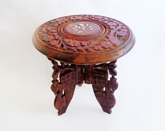 Wooden Hand Carved Table, Small Wooden Hand Carved Table with Faux Ivory Insets, Ivory Inlay Table, Folding Wooden Table,