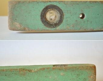 Vintage  Wooden Level Tool, Primitive Wood Level, Rustic Carpenters Tool, Mint Green Wooden Spirit Level, Rustic Wooden Tool, Vintage Tool