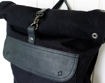 RUCKSACK in Waxed Canvas - BLACK
