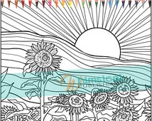 Sunflower coloring pages colouring for adults feild of for Sunset coloring pages for adults