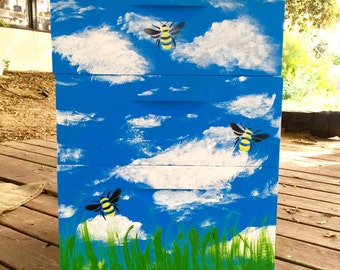 Bee Hive Boxes - Three Tier- Beautifully Hand-Painted - Made by Backyard Beekeepers