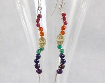 Amethyst Carnelian Lapis Ruby & Quartz Dangle Earrings, Rainbow Long Stems, Sterling Silver Wire Wrapped, Handmade Gemstone Beaded Jewelry