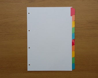 Filofax A4 Organiser Dividers with 10 Multicoloured Mylar Tabs