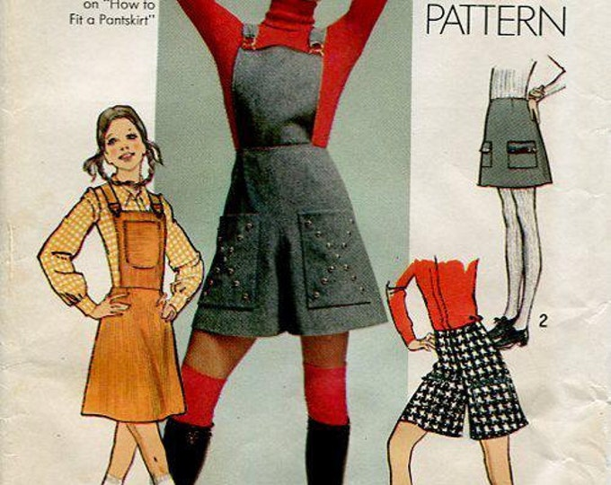 FREE US SHIP Simplicity 9521 Vintage Retro 1970's 70's Bib Skirt Culottes How to Sew Pattern Uncut Waist 24 Sewing Pattern