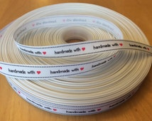 """White Handmade Grosgrain Ribbon -5/8"""", Sewing Labels Handmade with Love"""