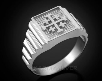 Sterling Silver Jerusalem Crusaders Cross Mens Square Ring
