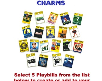 Broadway Musical Theater Playbill Novelty Charms-Select Any 5