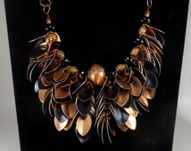 Copper and black scale maille necklace
