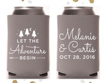 Let The Adventure Begin - Wedding Can Cooler #51- Custom -  Wedding Favors, Beverage Insulators, Beer Huggers
