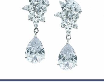 Wedding Earrings, Crystal Jewelry, Bridal Earrings, Bridal Jewelry, CZ Earrings, CZ Jewelry, Statement Earring Gemstone Earring Drop Earring