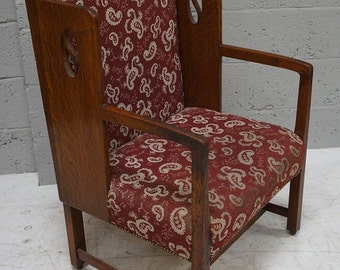 Antique Arts & Crafts Oak Arm Chair