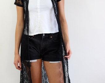 Vintage crochet Black vest.Taille M