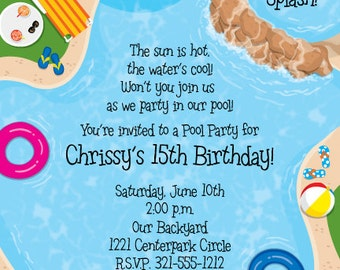 Backyard Pool Party Invitation, Summer Celebration, Splash Party, Birthday Bash Invite, Announcement, Original Digital Invitation IV564