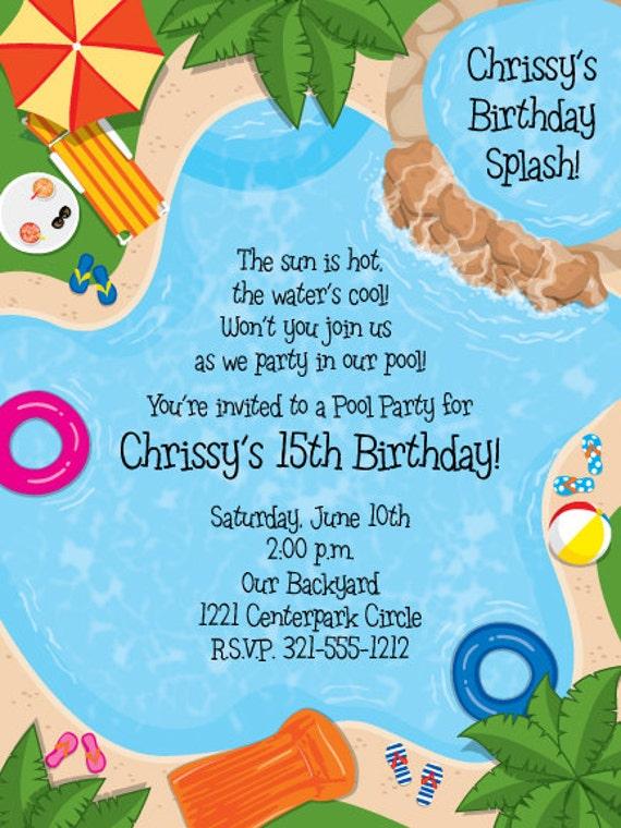 Backyard Pool Party Invitation Summer Celebration Splash