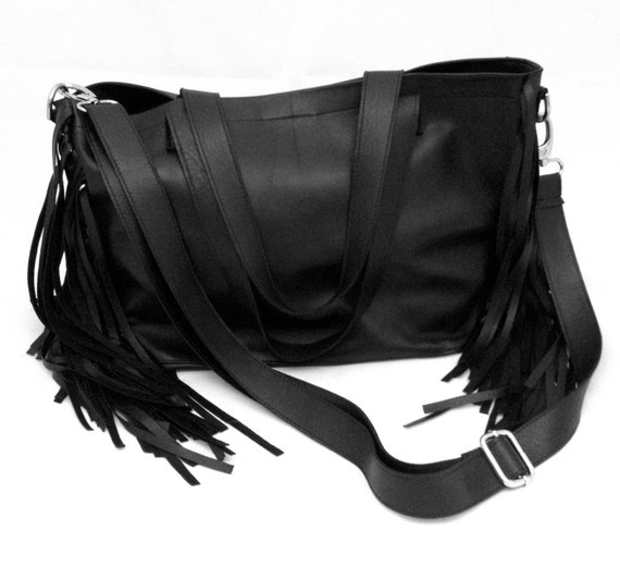 Leather Tote Bag with Fringe Black Shoulder Crossbody Medium OLA Olaccessories FREE SHIPPING