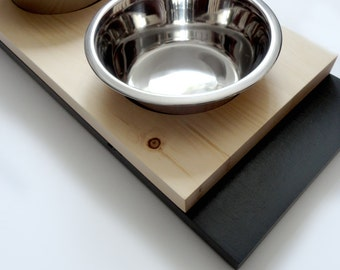Modern feeder medium- SALE - Cat or dog bowls, Minimal design , Wood and charcoal, animalove