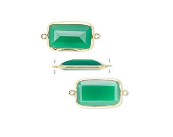 Large Green Onyx Rectangular Link, Gold-plated Setting, 22x13mm