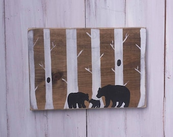 Our Little Bear Sign, Woodland Nursery Decor, Woodland Theme Nursery Sign, Nursery Bear Sign, Log Cabin Nursery, Woodland Baby Shower Gift