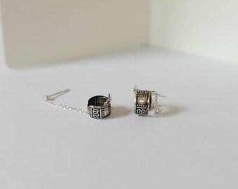 Tiny dot earrings chain with ear cuff, Sterling silver ear cuffs , stud earrings with chain, vintage earrings boho jewelry ear cuffs,