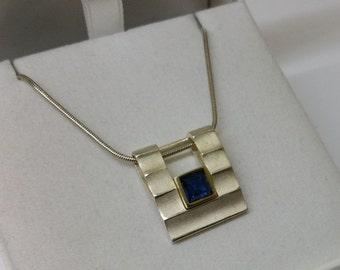 Pendant 925 Silver Blue Crystal SK808