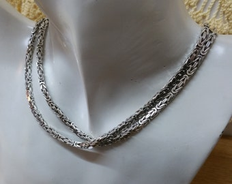King chain necklace 925 Silver vintage SK877